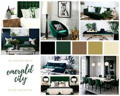 Black And Gold Living Room, Green And White Bedroom, Green Bedroom Decor, Living Room Green, Green Home Decor, Green Rooms, Black Decor, White Decor, Living Rooms
