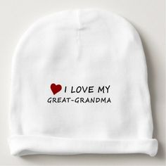 I Love My Great-Grandma with Heart Baby Beanie - red gifts color style cyo diy personalize unique
