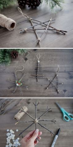 Rustic Twig Christmas Ornaments DIY Weihnachten 40 DIY Christmas Ornaments That Bring The Joy Christmas Mood, Noel Christmas, Diy Christmas Ornaments, Xmas Crafts, Christmas Decorations To Make, Ornaments Ideas, Christmas Ideas, Cheap Christmas, Christmas Quotes