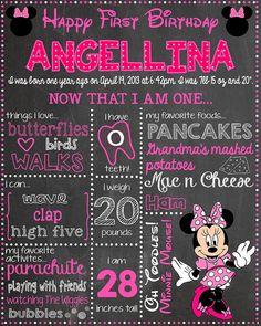 Custom pink MINNIE MOUSE Chalkboard Design 16 x 20 by BlueberrySky, $20.00 Happy First Birthday, 3rd Birthday Parties, Birthday Bash, First Birthdays, Birthday Ideas, Minnie Mouse Birthday Theme, Mickey Party, Minnie Mouse Party, Chalkboard Designs