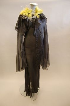 A Norman Hartnell gossamer-fine black chiffon and lace evening gown, circa 1930