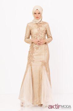 1aa1452c0b0db Aktifmoda · Abiye Modelleri · Krem Tesettür Abiye Elbise Modelleri 2019