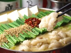 Motsunabe (Motsunabe) or hormone pot (hormone pot), the pot cooking to have a cow or pig Japanese Soup, Food Illustrations, Risotto, Potato Salad, Meals, Chicken, Cooking, Ethnic Recipes, Dogs