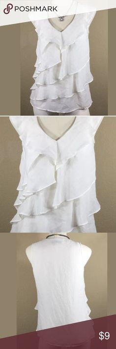 """Loft White Ruffled Top, Size XS Very nice Loft ivory colored, layered ruffled top. V neck, Sleeveless. Tagged x-small bust measurement is 34"""" and top length is 23"""". everything ships washed, pressed from a non smoking environment. Jewelry is not included. LOFT Tops"""