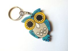 Wooden keychain Owl big eyes in turquoise
