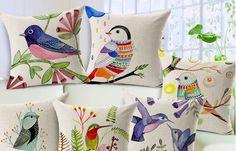 Cojines de Pájaros Impresos