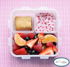 This was a really simple bento for her morning nutrition break. She got a double serving of fruit salad with a cute little pick, a cereal bar, and some yogurt with red sprinkles. I always wrap the yogurt in tinfoil before I pack it in her lunch bag.