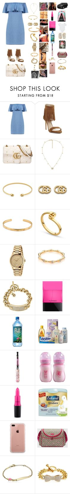 """""""Day out with my baby girl 😍💕"""" by manija-jones on Polyvore featuring Warehouse, BCBGMAXAZRIA, Gucci, Michael Kors, MAC Cosmetics, Johnson's Baby, Belkin, Philips and Juicy Couture"""