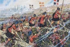 British and New England troops charge against the French entrenchments, 8 July 1758