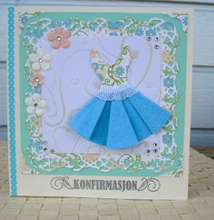 Folded paper dress card