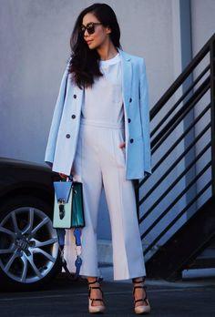 11.13 creamy jumpsuit + ice blue blazer