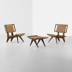 Paul Laszlo pair of lounge chairs and ottoman by Paul Laszlo - 1950