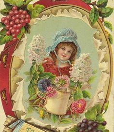 Charming Girl with watering can and floral by TheOldBarnDoor, $5.00