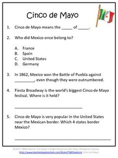 "Cinco de Mayo: Learn all about Cinco de Mayo with these reading comprehension worksheets!  In this product you will receive printable worksheets with Cinco de Mayo comprehension questions that go along with the book ""Cinco de Mayo (Holidays, Festivals, & Celebrations) by Ann Heinrichs. These questions could also be used with your own unit. Separate answer keys are provided for the teacher and space in included for student response. This product also contains a cover page that can be colored…"