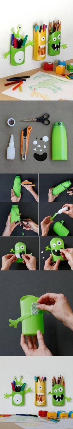 These frighteningly cute pencil holders used to be shampoo bottles! | 33 Impossibly Cute DIYs You Can Make With Things From Your Recycling Bin