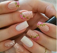 35 Vintage Floral Nails You Will Adore Perfect Nails, Gorgeous Nails, Pretty Nails, Spring Nails, Summer Nails, Vintage Nails, Rose Nails, Flower Nail Art, Nail Decorations