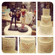 This superhero cake from Sweet Frostings Blissful Bake Shop kept it classy by using a neutral color palette on the cake and the bright colors on the toppers. From foodiggity.com