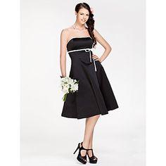 LAN+TING+BRIDE+Knee-length+Strapless+Bridesmaid+Dress+-+Little+Black+Dress+Sleeveless+Satin+–+USD+$+69.99