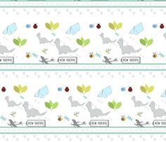 dino friends -New Arrival fabric by drapestudio on Spoonflower - custom fabric -NEW ARRIVAL banner for baby! http://www.spoonflower.com/designs/3845883  See other designs in our shops www.cafepress.com and www.drapestudio.com and www.etsy.com/shop/drapestudio