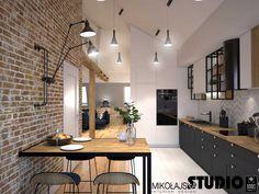 Loft Kitchen, Kitchen Room Design, Modern Kitchen Design, Interior Design Kitchen, Küchen Design, House Design, Industrial Interior Design, Apartment Projects, Dining Room Inspiration