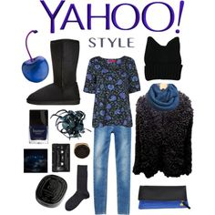 Yahoo style - dark winter floral shirt by perpetto on Polyvore featuring moda, Dondup, Boohoo, even&odd, Clare V., Dsquared2, Emporio Armani, Diptyque, Butter London and Calypso St. Barth