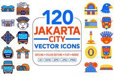 City Vector, Eps Vector, Vector File, Vector Icons, Jakarta City, Badge Icon, Social Media Calendar, Mobile App Design, Icon Pack