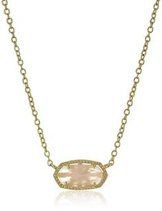 "Kendra Scott ""Signature"" Elisa Gold Rose Quartz Pendant Necklace"