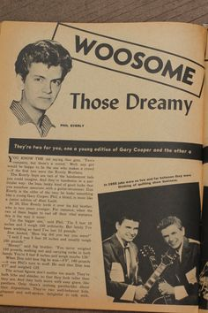from article about the Everly brothers in 16 magazine,1958 November