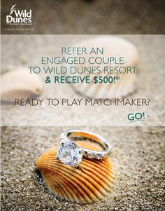 Refer an engaged couple for a #Charleston #beach wedding at Wild Dunes Resort...and reap the rewards! Find out how: http://www.wilddunes.com/blog/matchmaker-matchmaker-make-a-match-and-get-rewarded?&m=0