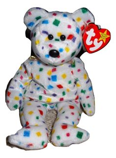 d0d3030e914 TY Beanie Baby TY 2K White Bear Multi Colored Confetti Jan 1
