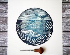 Humpback whale Lino print Lino cut by Laura Nunn Octopus Print, Whale Print, Linocut Prints, Art Prints, Block Prints, Lino Art, Linoprint, Illustration, Printmaking