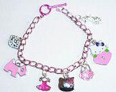 Pink Chain Girly Girl Charm Bracelet Cute Jewellery Kitten Dress Hello Kitty Rhinestones Shoes Scottie Dogs