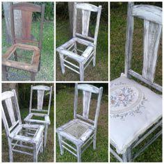 antiguas sillas recicladas: decapado blanco,asiento entretejido de hilo grueso de algodon.