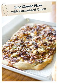 Pizza is taken to a whole new level with this recipe for Blue Cheese Pizza with Caramelized Onions, Bacon, and Honeyed Pears. It's so delicious!