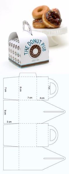 Easy box to pack small donuts - Easy box to pack small donuts - Diy Gift Box, Diy Box, Diy Gifts, Paper Box Template, Paper Crafts Origami, Origami Box, Box Patterns, Paper Toys, Box Design