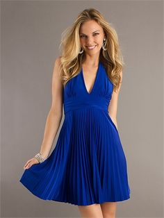 A-line Low V-neck Halter Pleated Knee Length Homecoming Dress HD1273 www.homecomingstore.com $111.0000