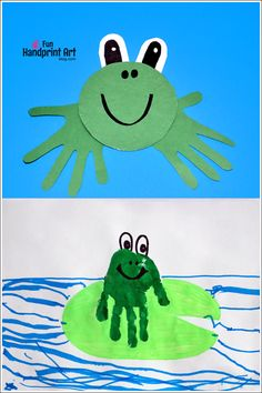 Handprint Frog Crafts for Kids