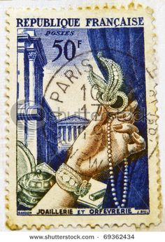 FRANCE - CIRCA 1938: A jewellery commemorative stamp