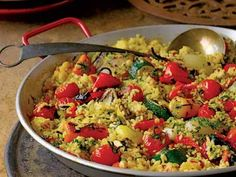 """Paella """"Primavera"""" Meatless dish, cook over a campfire or grill (with wood chips)."""