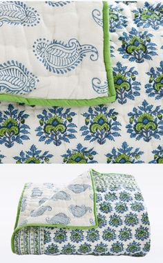 Bombay is the city on the harbor. This blanket features our signature paisley motif in green and blue. The blanket is lined and has different patterns on both sides with diamond hand-quilting. Hand block printed on 100% cotton voile. Made in India.