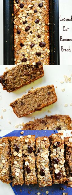 Flourless Dark Chocolate Chunk Coconut Oat Banana Bread made with ground up oats! A soft & hearty banana bread that makes the perfect snack! #Healthy #Vegan & #GlutenFree - Ceara's Kitchen