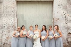 Meredith and Kevin's wedding > Legends Vanderbilt Golf Course > Nashville, TN. I happen to LOVE GREY and I happen to LOVE RUSTIC so this shot is one of my favorite with the bride maids! Photo by Krista Lee.