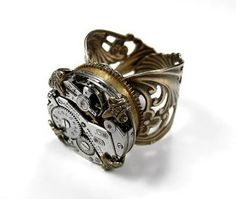 Steampunk Ring Jeweled Watch HIGH Spring BARREL Brass Mens Steampunk Ring Wedding Ring Steampunk Jewelry by edmdesigns