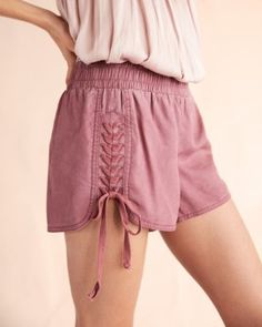 braided lace-up shorts
