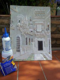 Cuadro de vandal y pasta de modelar preparado para pintar