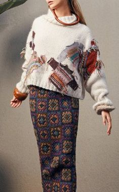 Patched Sweater with Crochet Shirt by Tuinch Pre-Fall 2018