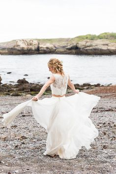 Two-piece BHLDN wedding dress | KAngell Photography