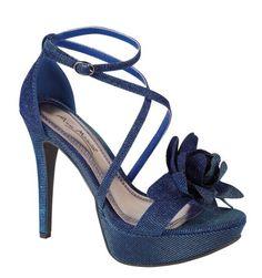 Anne Michelle Ladies blue green 2 tone high heel platform strap sandal