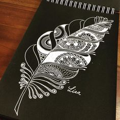Zentangle Feather By _ by arts_help Doodle Patterns, Zentangle Patterns, Zentangles, Mandala Drawing, Mandala Art, Fabric Painting, Painting & Drawing, Black Paper Drawing, Doodle Paint