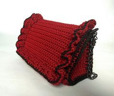 Women Crochet Handmade Bordeaux Purse With Frill, Light Weight Crochet Shoulder Bag, Lined Luxurious Red Handmade Purse, Christmas Gift Handmade Purses, Handmade Gifts, Crochet Shoulder Bags, Wedding Purse, Knit Or Crochet, Sister Gifts, No Frills, Cosmetic Bag, Bordeaux